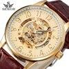SEWOR Fine Scale Design Black Gold Watch Men Watches Top Brand Luxury Skeleton Mechanical Watch Relogio