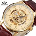 Gold Watch Skeleton Men Top Brand Luxury SEWOR Scale Design Mechanical Wristwatches Fashion Luxury Mechanical Clock SWQ11