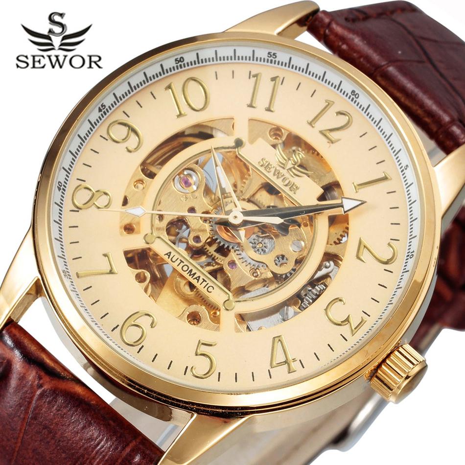 Prix pour Or montre squelette hommes top marque de luxe sewor échelle conception mécanique montres de mode de luxe mécanique horloge swq11