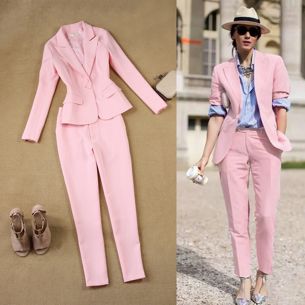 LXUNYI Pink 2 Pieces Pant Suit Women Formal White Suit Female Office Slim Ladies Interview Suits One Button Pants And Blazer Set