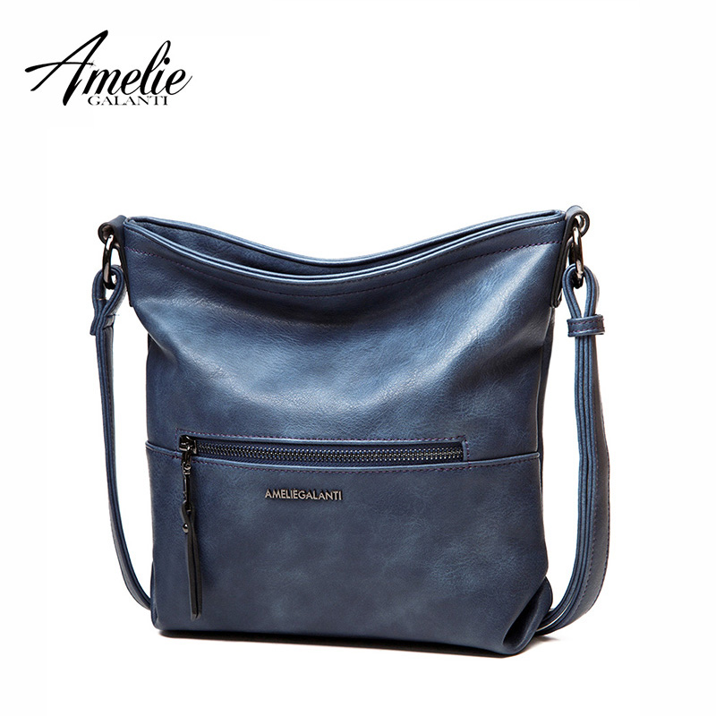 AMELIE GALANTI Women's Small Cross-body Bag Messenger shoulder Bag PU Leather Cause Hobo Bag Solid Zipper Purse 4 Colors