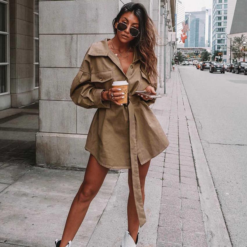OOTN длинное мини-платье с рукавами летучая мышь, женское офисное платье-рубашка с поясом, винтажное платье-туника цвета хаки, новинка 2019, повседневная верхняя одежда