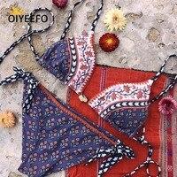 Oiyeefo Print Ethnic Bikini Women Bandage Swimsuit Two Pieces Swimming Suits Normal Bottom Bathing Suits 2018