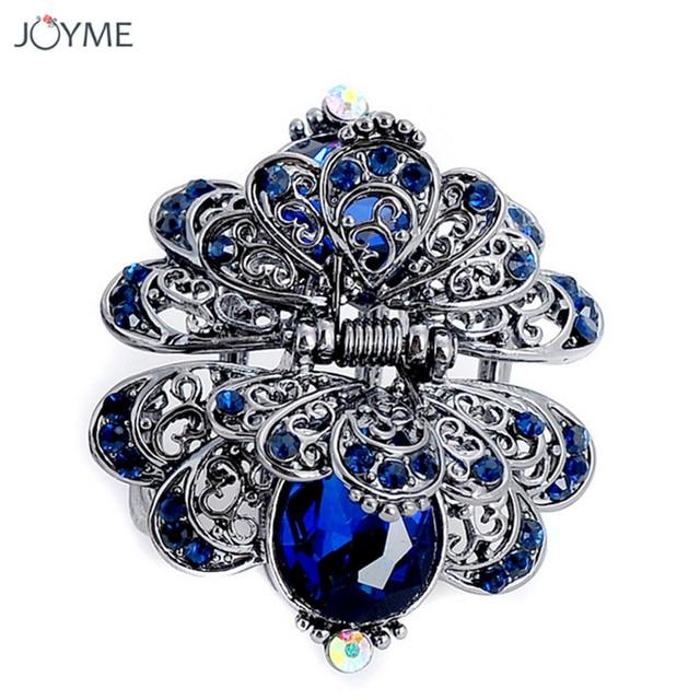 Charm Ancient Silver Metal Crab Claw Clip For Women Vintage Rhinestone  Crystal Flower Hair Clip Wedding 23df92e9d381
