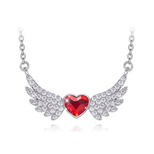 Red Heart Wings Jewelry Angel Necklace Crystal Pendant Birthday Gift For Women