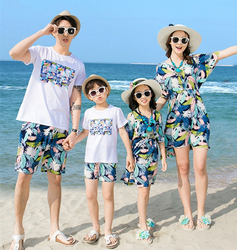 Summer Family matching clothes mother daughter dresses father son outfits Girl Boy family look holiday blue leaves Print 2019