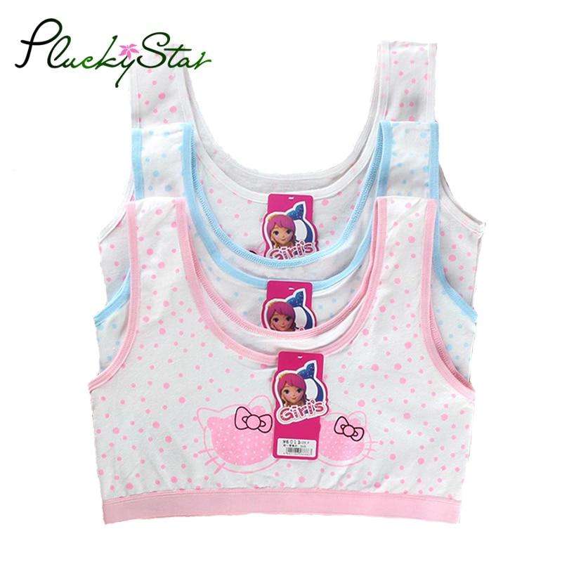 PluckyStar Girls Underwear Lovely Print Girl Training Bra Cotton Bras For Girls Sport Bra Wear Top For Teens 8-12Y Lingerie KW51