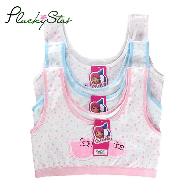 PluckyStar Girls Underwear Lovely Print Girl Training Bra Cotton Bras For Girls Sport Bra Top For Teens 8-12Y Adolescente KW51