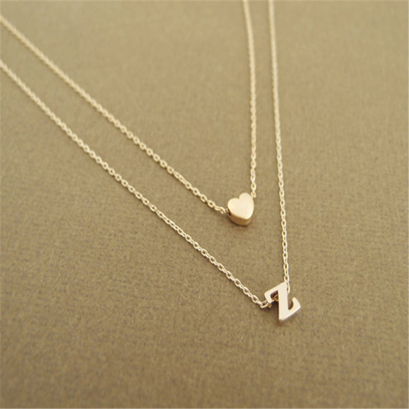 Letter Z Necklace ALP NEW gold heart necklace, letter Z pendant bridesmaid necklace,everyday  necklace, gift for her,gold necklace, weddings Simple