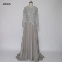 JIERUIZE Grey Chiffon Long Sleeves Evening Dresses A-Line Lace Appliques Beaded Formal Dresses Mother of the Bride Dresses