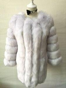 Image 5 - ZADORIN S 4XL חורף יוקרה פו שועל פרווה מעיל Slim ארוך ורוד אדום כחול פו פרווה מעיל נשים מזויף פרווה מעילים manteau fourrure
