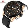 Naviforce marca de luxo de couro dos homens do esporte relógios de pulso de quartzo dos homens led relógio digital militar do exército masculino relógio relogio masculino