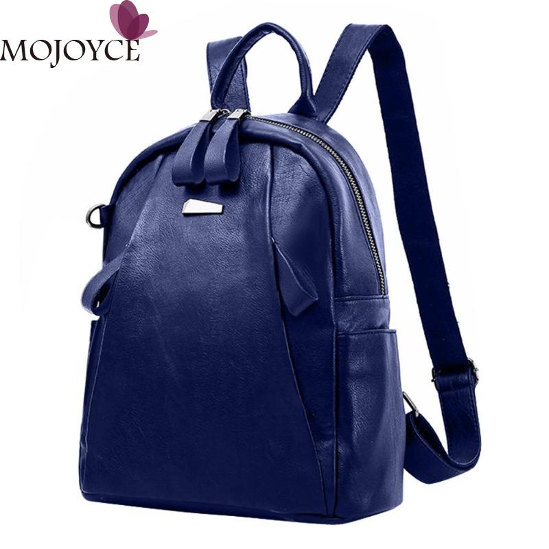 PU Leather Backpacks Women Solid Zipper Mochila Escolar School Bags For Teenagers Girls Travel Casual Shoulder Bag Blue Backpack girls leather backpack cute pink shoulder bag small rivets backpacks women black rucksack casual teenagers bags mochila xa127h