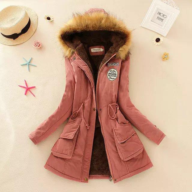 Casual Lamb Wool Fake Fur   Parka   Women Long Sleeve Zipper With Cap Lace Up Slim Winter Women Coat Outwear Warm Coat Female Jacket
