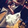 2016 Nova Mulheres bagpack Mochilas De Couro Preto Sólido Branco Grande Meninas Mochila Bolsas Mochila Feminina Bolsa de Viagem