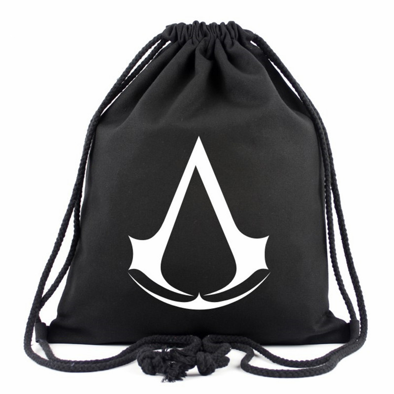 Fashion 2017 Assassins Creed Drawstring Bag Assassin's Creed Backpack 16 Colors Travel Canvas Printing School Bags For Teenagers new fashion assassins creed luminous backpack boy girl school bags for teenagers casual bag game canvas backpacks