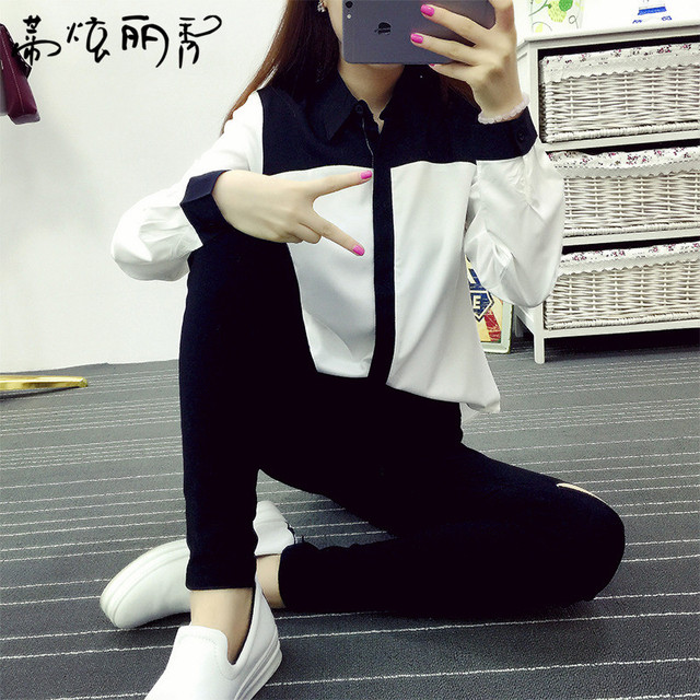 2016 Spring New Blouse Korean Style Long Sleeve Women Shirts Black and White Chiffon Shirts Female Tops Turn-down Collar DCY266