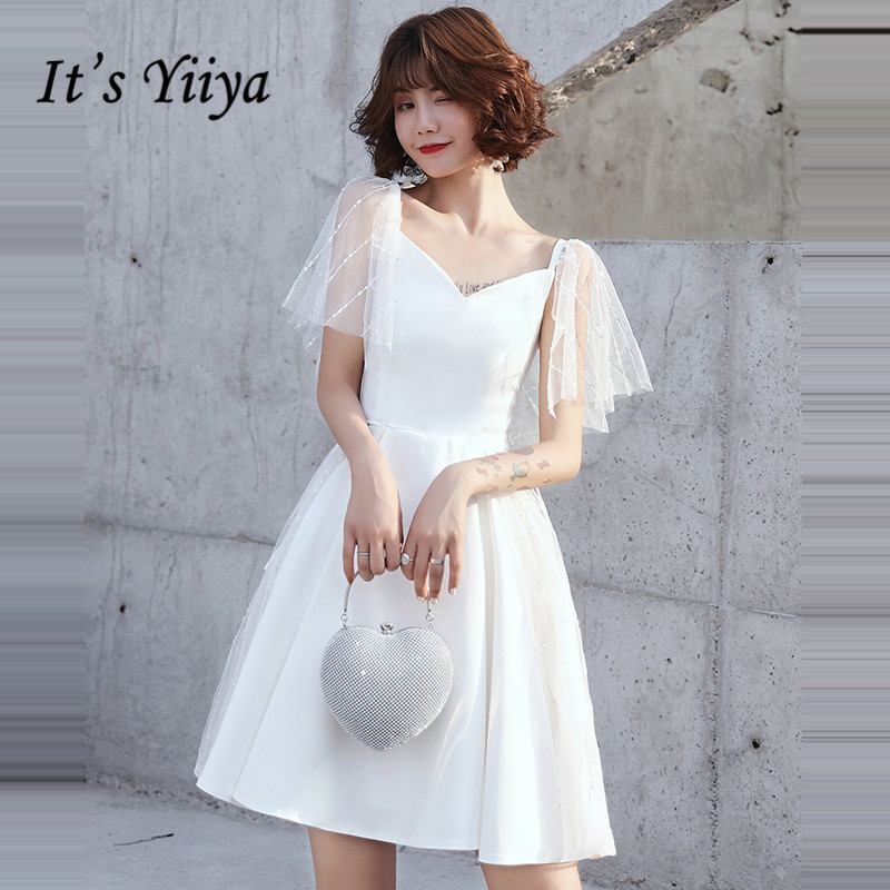 It's YiiYa Cocktail Dress 2019 Elegant Short Sleeve White Women Party Gowns Plus Size A-line Mini Robe Cocktail Dresses E754