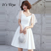 Женское коктейльное платье it's yiiya белое элегантное ТРАПЕЦИЕВИДНОЕ