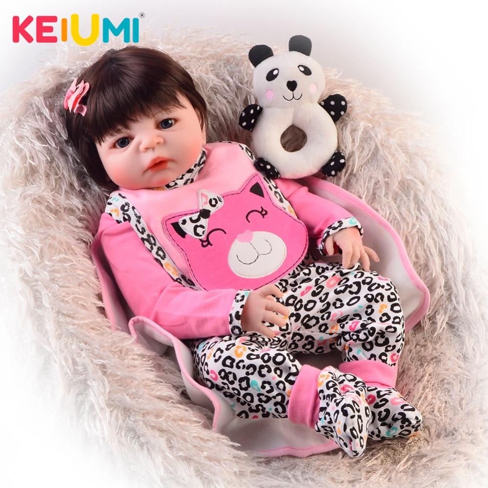 Belle 23 pouces Reborn bébé fille poupées tout le corps en Silicone vinyle réaliste 57 cm Reborn poupées pour enfants cadeau d'anniversaire-in Poupées from Jeux et loisirs    1