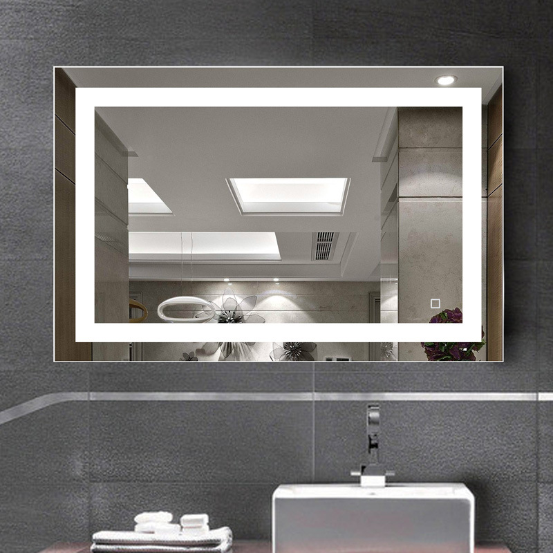 цена на Modern Simple Creative Waterproof Antifog 60*80cm Multifunction Led Light Mirror For Bathroom Hotel Mirror Light Touch Switch