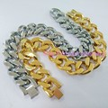 23cm*15mm High Quality 316L Stainless Steel High Polishing Silver Gold Cuba Link Bracelet For Handsome Men's Boy's Jewelry