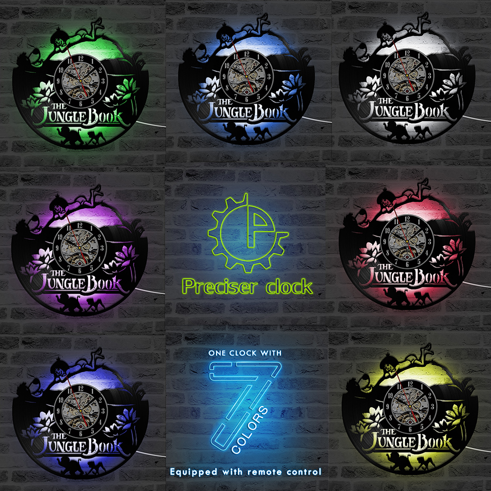 The Jungle Book Theme CD Record Clock Creative Vinyl LED Record Wall Clock Antique Style Handmade Home Decor Hanging Clock