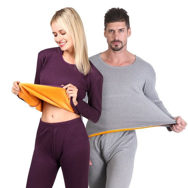 2019 New Winter Warm Couple Thermal Underwear Sets For Men Women Long Johns Cotton Fleece Thick Velvet Wool Clothing Plus Size(China)