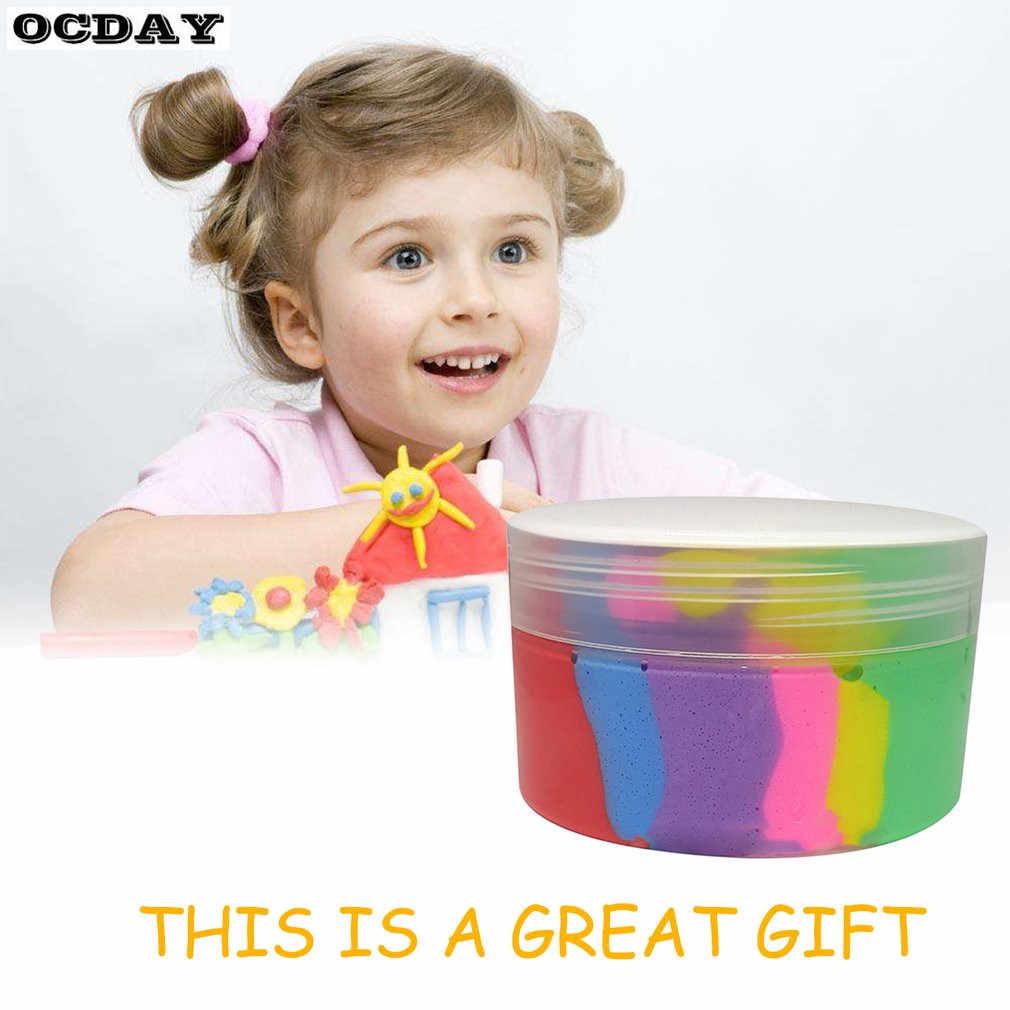 OCDAY 6 لون قوس قزح رقيق الوحل الطين البلاستيسين لعبة لتخفيف الضغط ضوء الطين الهواء الجاف لتقوم بها بنفسك لينة بلايدووغ الإبداعية handحرف اللعب