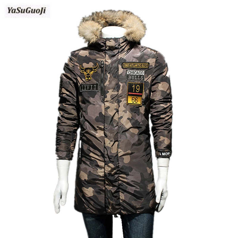2017 new arrival winter fashion embroidery camouflage fur hooded cotton padded jacket men thicken slim fit men's coat MF19 2016 men of new style fashion male hooded embroidery cotton quilted jacket down jacket coat
