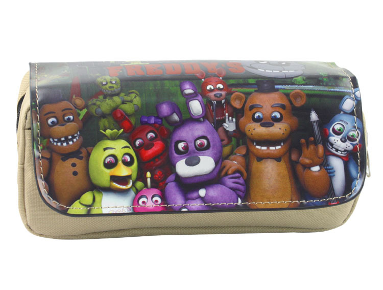 Cartoon Five Nights at Freddys Pen Bags Harem Game Animation Multifunctional Double Zipper Pencil Pouch Purse Stationery Bag