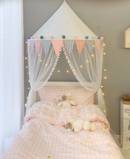 100% Cotton Tipi Tent Kids Baby Canopy Toddler Bed Curtain Decoracion Bebe Mosquito Net Teepees & 100% Cotton Tipi Tent Kids Baby Canopy Toddler Bed Curtain ...