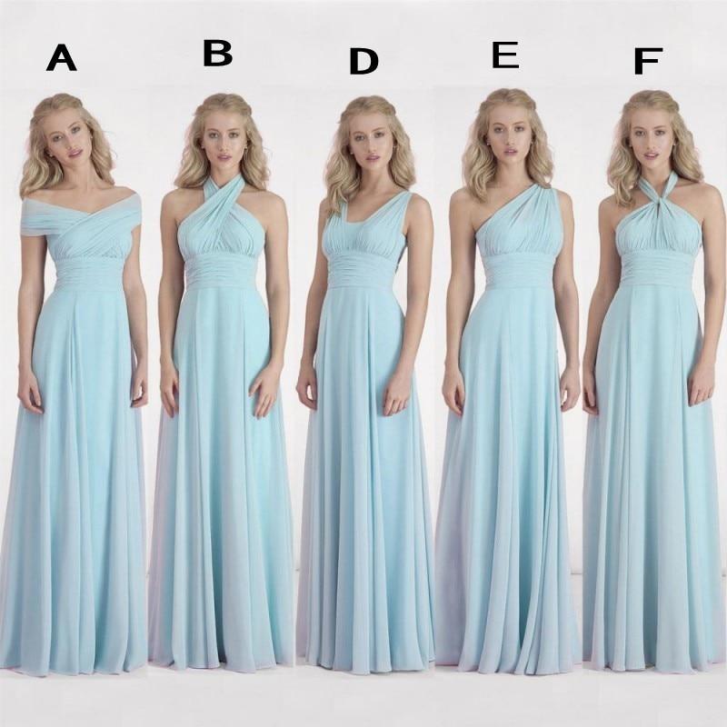 2016 Simple Greek Beach Wedding Dresses One Shoulder: Dusty Blue Bridesmaid Dress Chiffon Winter Fall Cheap