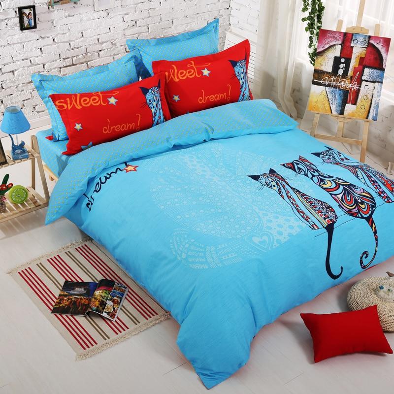 Organic Cotton Kawaii Owl Girls Bedding Set Bright Color Comforter ...