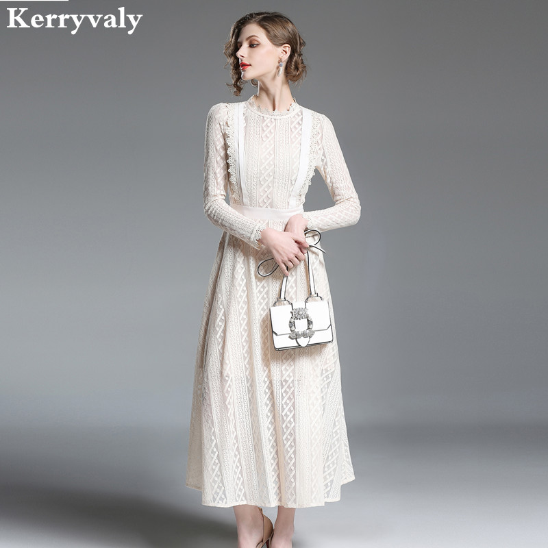 High end Long Sleeved Beige Maxi Lace Dress Womens Dresses New Arrival 2019 Spring Long Party