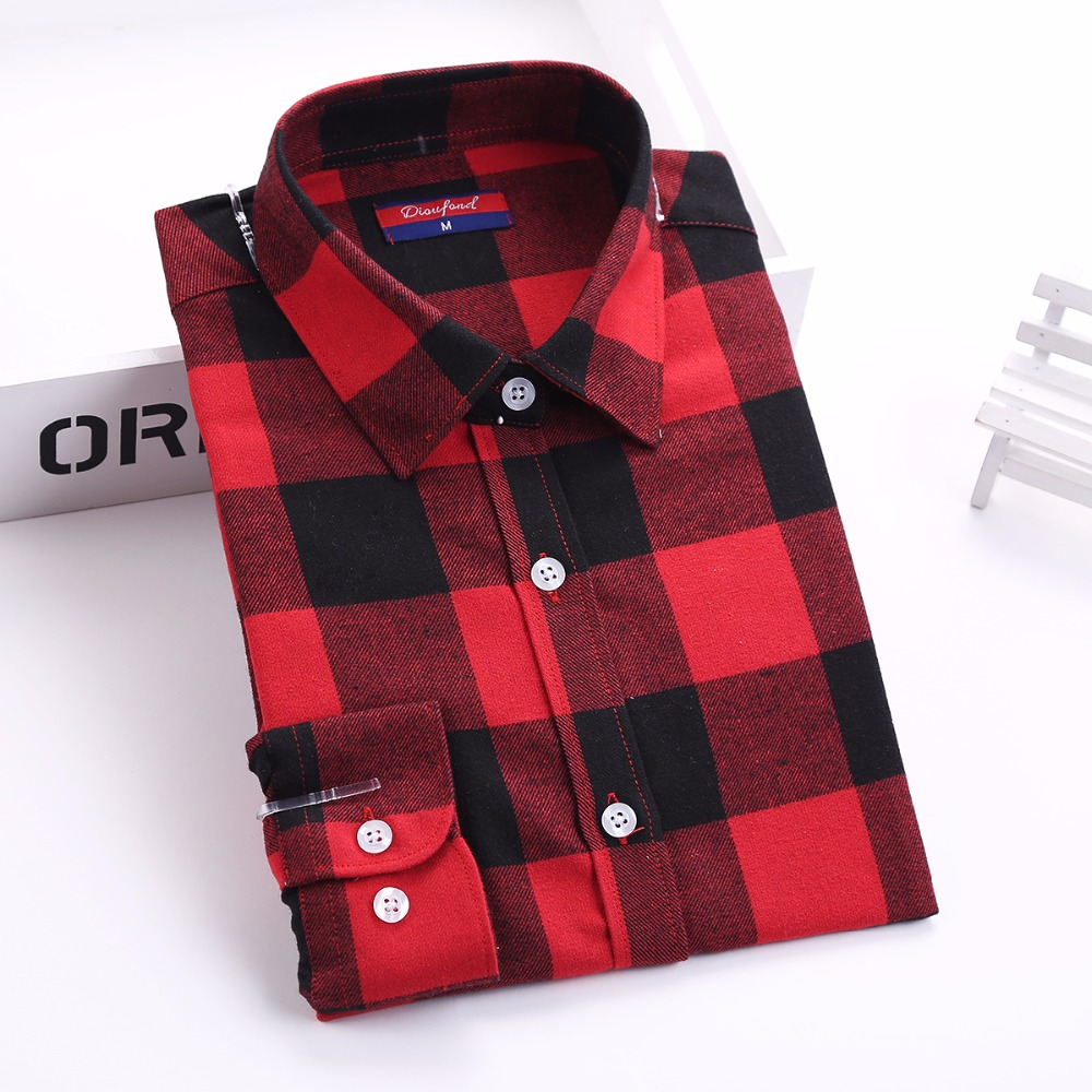 Dioufond red plaid shirt long sleeve women shirts Womens red plaid shirts blouses