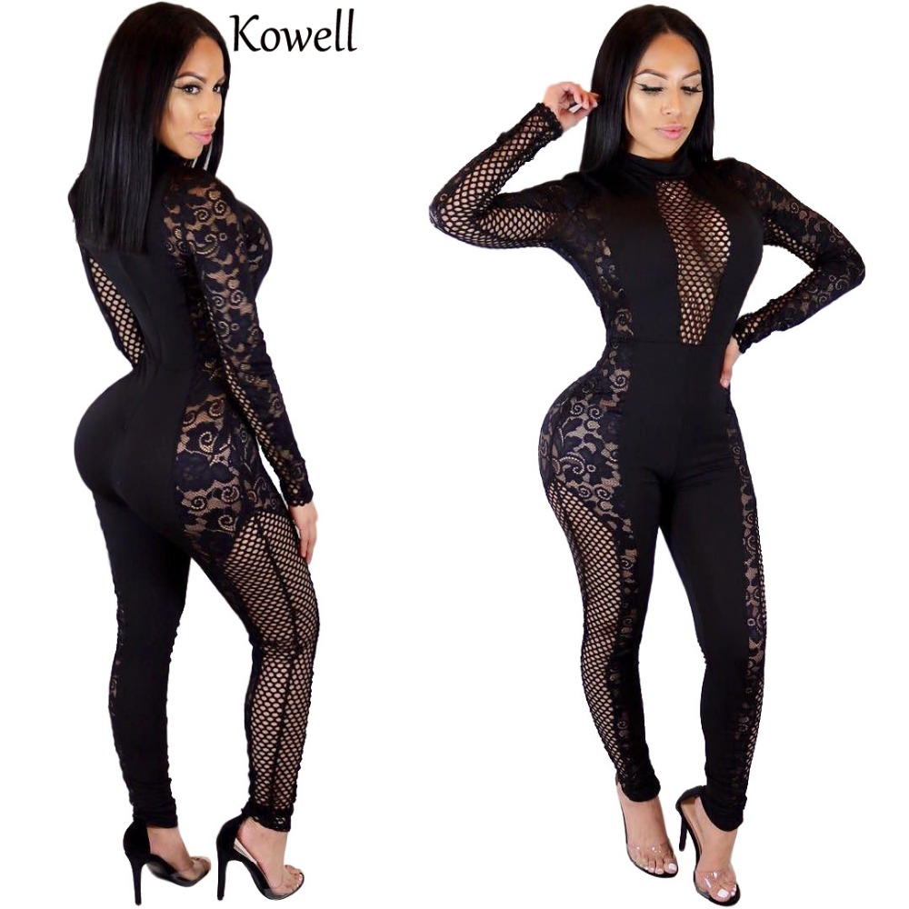 2018 New Fashion Women Sexy Jumpsuits Bandage Long Sleeve Mesh Female Bodycon Lace Party Jumpsuit ...