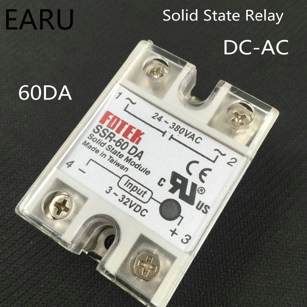 Подробнее о 1 pcs SSR-60DA 60A 3-32VDC/24-380VAC Solid State Relay good quality with Plastic Cover SSR-60 DA Factory Wholesale 5 60vdc to 3 32vdc 60a ssr 60dd solid state relay module with plastic cover