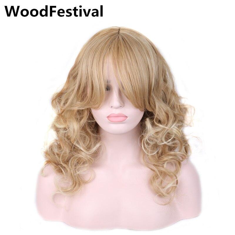 WoodFestival Color Mix Perucas de Cabelo Sintético Para As Mulheres Resistente Ao Calor Ondulado Longo Cosplay Peruca com franja