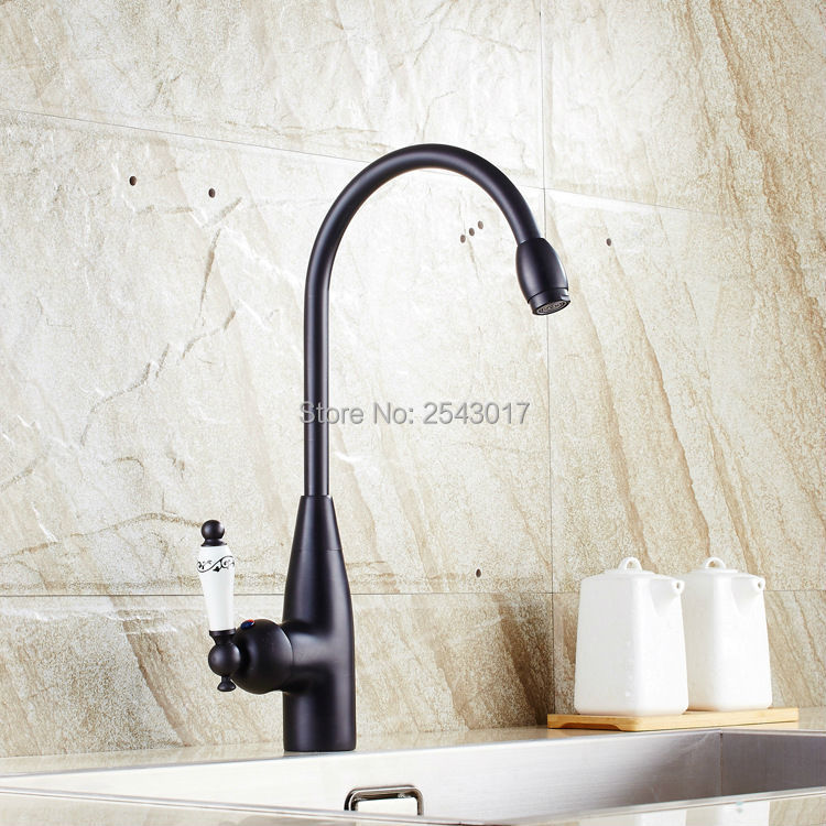 Kitchen Swivel Faucet Black Bronze Finish Bathroom Fashion Mixer Taps Deck Mounted Ceramic Faucet ZR266