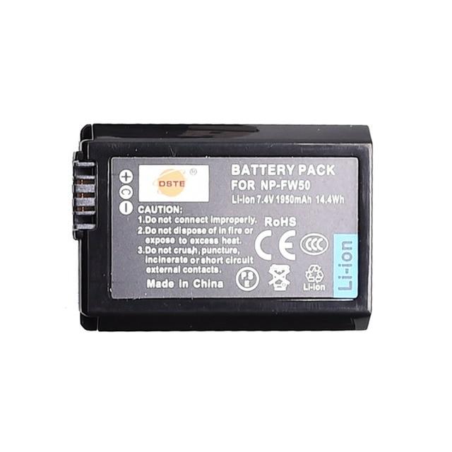 DSTE 1950 mAh NP-FW50 np-fw50 Pin Máy Ảnh cho Sony NEX-5N NEX-F3 NEX-3D NEX-3DW NEX-3K NEX-5C NEX-5D NEX-5DB Alpha 7RII a6400