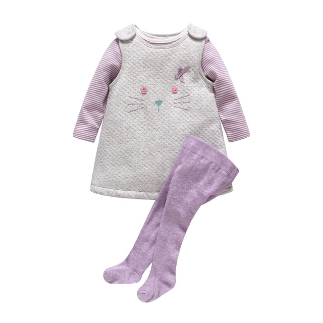 2017 New Baby Girl Clothes Newborn Baby Thickening Cotton Cat Dress +Stripe Romper+ Purple Pantyhose 3pcs Clothing Set
