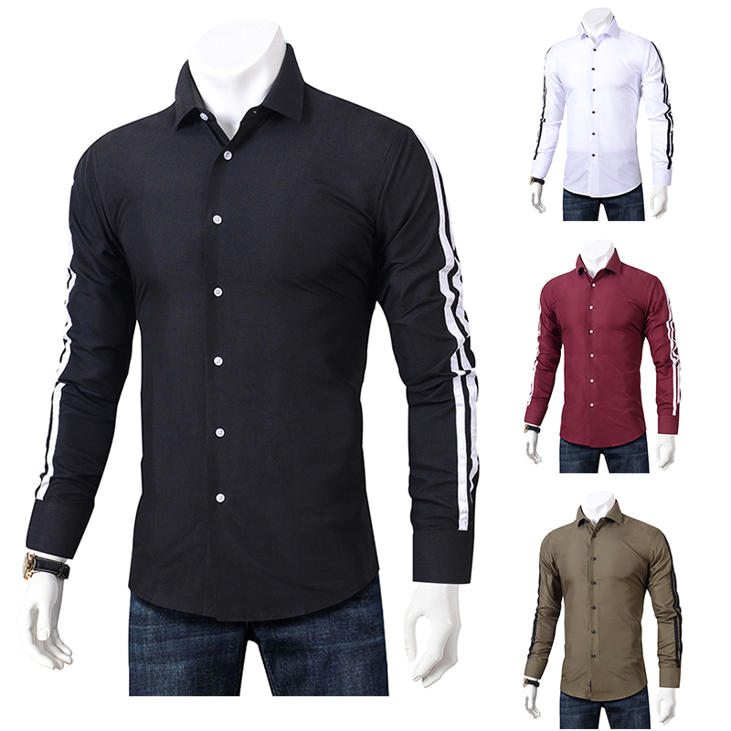 2019 Fashion Casual Shirts Men Long Sleeve Slim Fit Men's Button Down Casual Shirt Formal Dress Shirts Men Clothes 2018 Camisa-in Casual Shirts from Men's Clothing 1