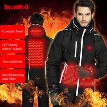 Зимний лыжный костюм snowwolf мужская куртка с капюшоном и usb