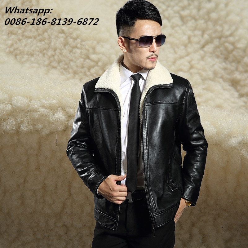 Winter Men's sheepskin leather coat clothing  fleece fur male leather - Men's Clothing