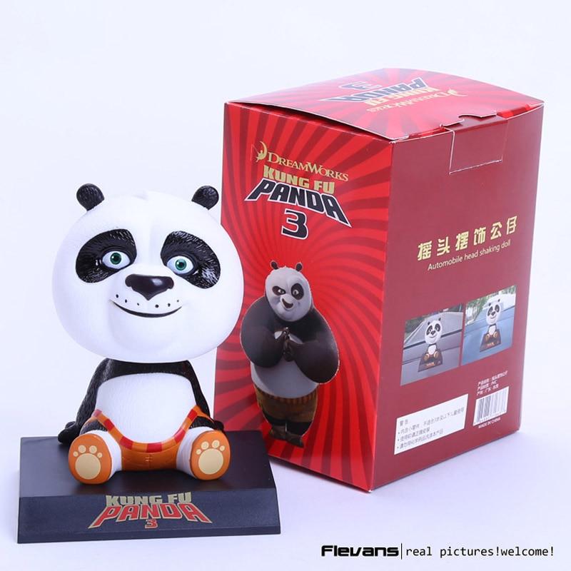Movie Kung Fu Panda 3 Po Bobble Head Toys Car Toys PVC Figures 4 10cm