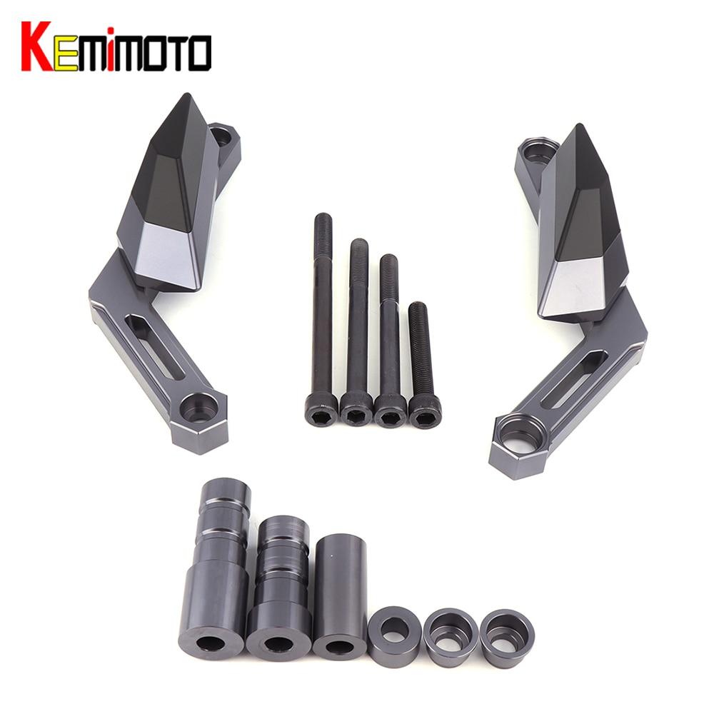 KEMiMOTO MT09 Tracer FJ09 CNC Aluminum Frame Slider For Yamaha MT 09  MT-09 Tracer XSR900 2014 2015 2016 2017 for yamaha mt 07 mt 07 fz07 mt07 2014 2015 2016 accessories coolant recovery tank shielding cover high quality cnc aluminum