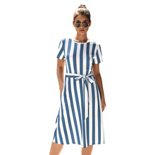 office summer dress 2019 women  casual striped Sashes beach mid-calf fashion bandage womens clothing