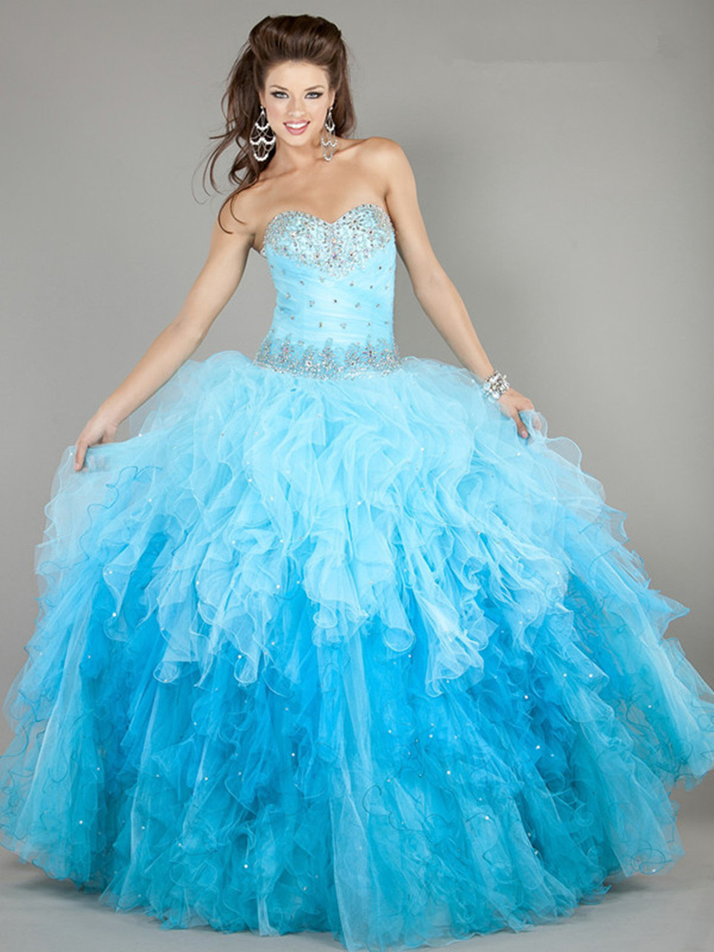 2018 Brand Blue Formal Party Evening Quinceanera Sweetheart Crystal Beading Custom Prom Ball Gown Mother Of The Bride Dresses