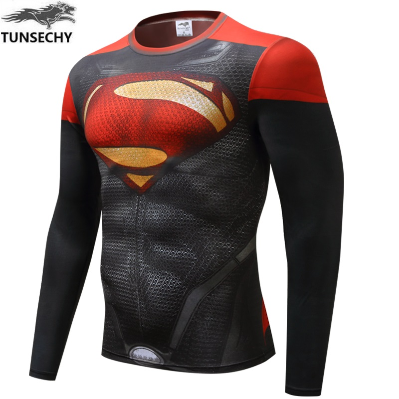 TUNSECHY 2017 Brand fashion Men T-shirt Superman Captain America Batman Spiderman Fitness tight T-shirt Wholesale and retail
